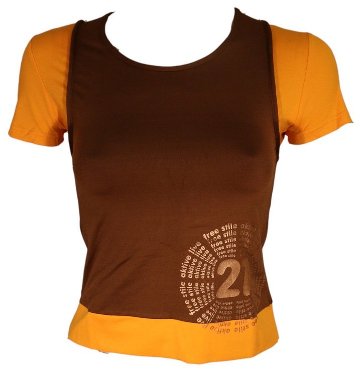 Bars Womens T-Shirt Brown/Yellow 134 L