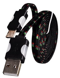 Etui Super Flat Wired Cable With Led Universal Micro USB Black