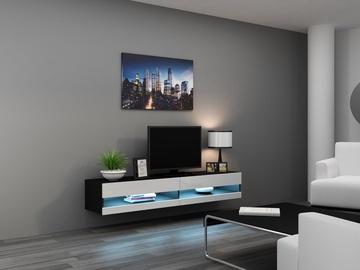 ТВ стол Cama Meble Vigo New 180, белый/черный, 1800x300x400 мм