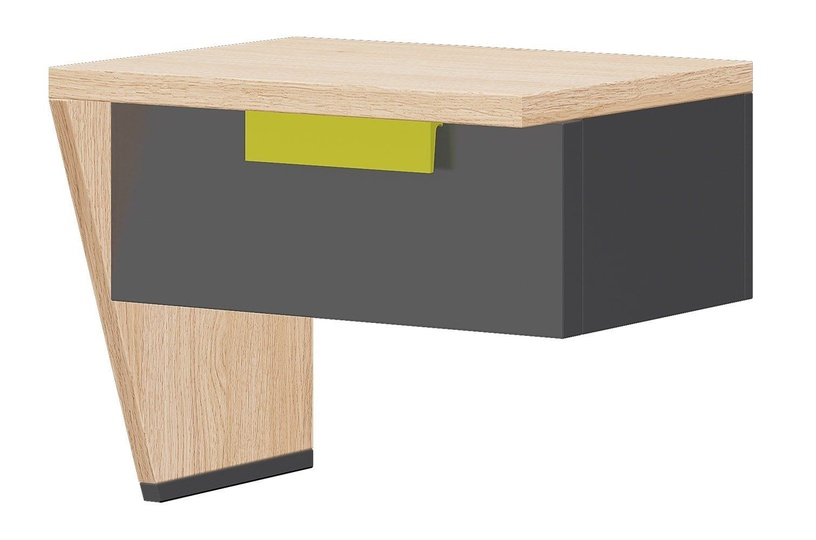 Ночной столик Szynaka Meble Wow 12 Graphite/Green/Oak