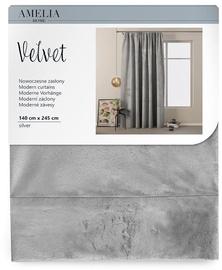 Nakts aizkari AmeliaHome Velvet Pleat, sudraba, 1400x2450 mm