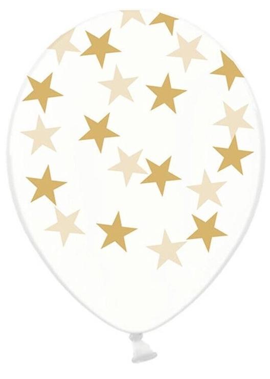 PartyDeco Baloni 6 gab, 30 cm - caurspīdīgi, ar zvaigznēm