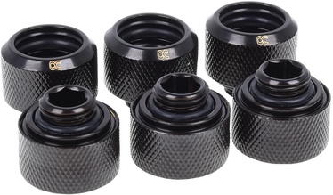 Alphacool Eiszapfen HardTube Compression Fitting 16mm To G1/4 Black Pack Of 6