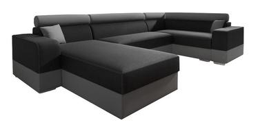 Stūra dīvāns Idzczak Meble Infinity Super Black/Grey, 332 x 185 x 93 cm