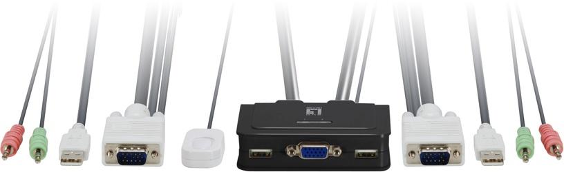 LevelOne 2-Port USB VGA Audio KVM Switch KVM-0223