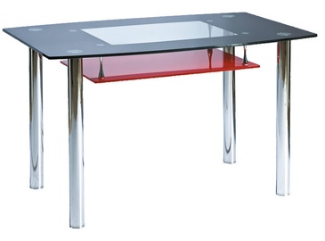 Pusdienu galds Signal Meble Modern Twist, melna/sarkana, 1200x750x730mm