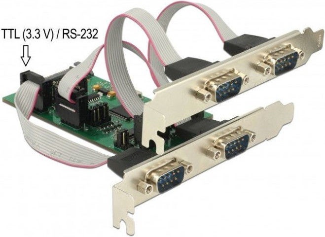 Delock PCIe 3 x Serial RS-232 + 1 x TTL 3.3V / RS-232