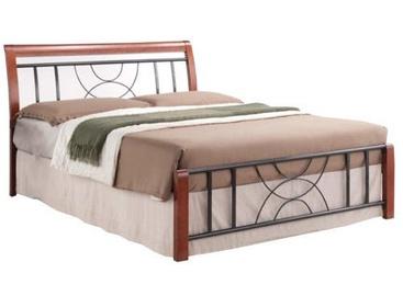 Кровать Signal Meble Cortina Black/Antique Cherry, 217x166 см, с решеткой