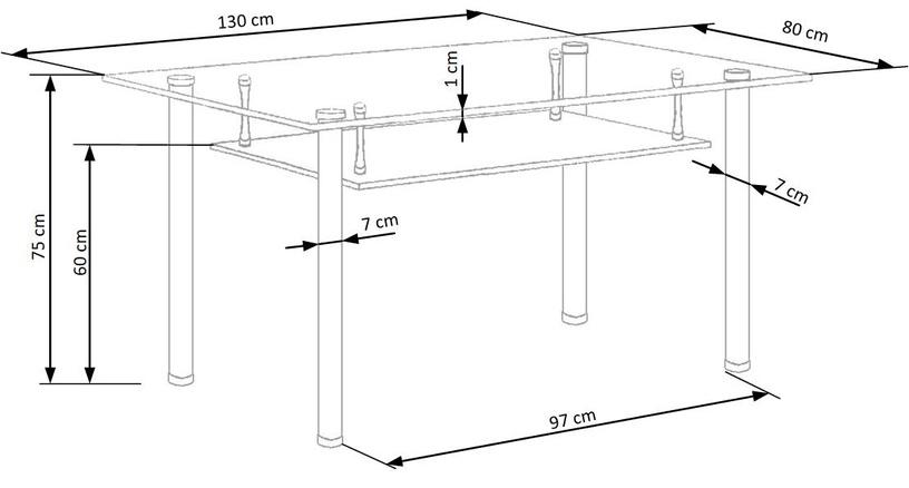 Обеденный стол Halmar Lenart Glass, 1300x800x750 мм