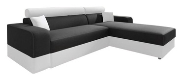 Stūra dīvāns Idzczak Meble Infinity Lux Black/White, labais, 184 x 184 x 95 cm