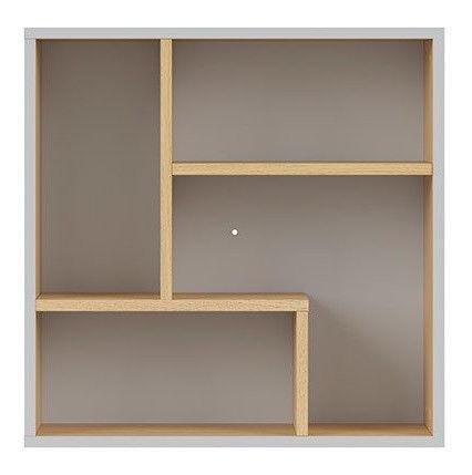 Black Red White Nandu Shelf 56x56x22cm Gray/Oak