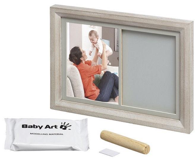 Komplekts roku / kāju zīmogu izveidei Baby Art Tiny Touch Wooden Wall Print Frame Stormy