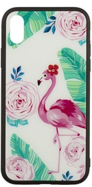 TakeMe Glass Glossy Back Case For Samsung Galaxy S9 Plus Flamingos