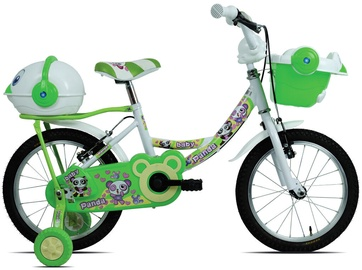 "Bērnu velosipēds Esperia Game Girl Panda, balta/zaļa, 14"", 14"""