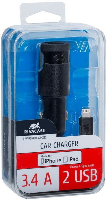 Rivacase Dual USb Car Charger With Apple Lightning Cable 1.2m Black