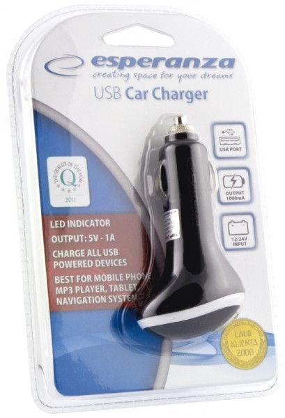 Esperanza Car Charger DC 12/24V USB 5V 1000mA