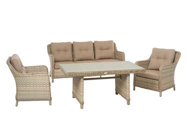 Комплект уличной мебели Masterjero Saulės Sodas AL368, слоновая кость/коричневый, 5 места