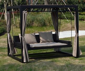Садовые качели Home4you Barcelona Gazebo, черный/кремовый, 236 см x 180 см x 210 см