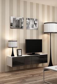 ТВ стол Cama Meble Vigo 140, белый/черный, 1400x300x400 мм