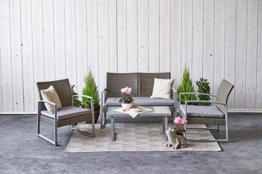 Āra mēbeļu komplekts Domoletti Lazy Lounge SF1609, brūns, 4 sēdvietas