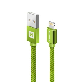 Swissten Textile USB To Apple Lightning Fast Charge Cable 1.2m Green