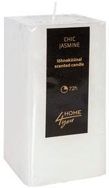 Aromātiskā svece Home4you Candle Chic Jasmine 7.5x7.5xH15cm White, 72 h
