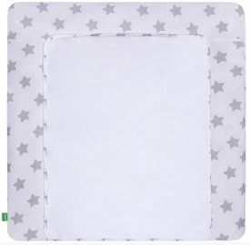 Matracis autiņu maiņai Lulando Grey Stars On White, 76x76 cm, balta/pelēka