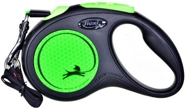 Siksna Flexi New Neon, melna/zaļa, 5 m