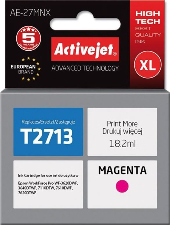 ActiveJet Cartridge AE-27MNX For Epson 18ml Magenta