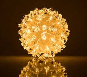 EV LED 50 Ball with Flowers Warm White D11cm