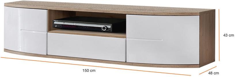 ТВ стол ASM RTV Ontario I, белый/дубовый, 1500x480x430 мм