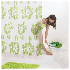 Штора для ванной Ridder Flowerpower, белый/зеленый, 2000 мм x 1800 мм