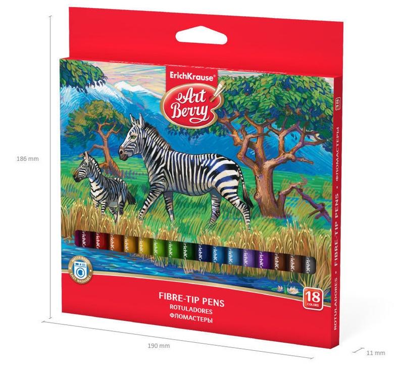 ErichKrause Art Berry Easy Washable Fibre-Tip Pens 18pcs