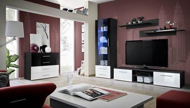 Dzīvojamās istabas mēbeļu komplekts ASM Galino B Black/White Gloss/Black Gloss
