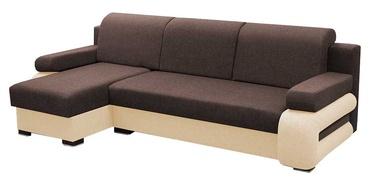 Stūra dīvāns Idzczak Meble Grey Brown/Beige, kreisais, 260 x 140 x 72 cm