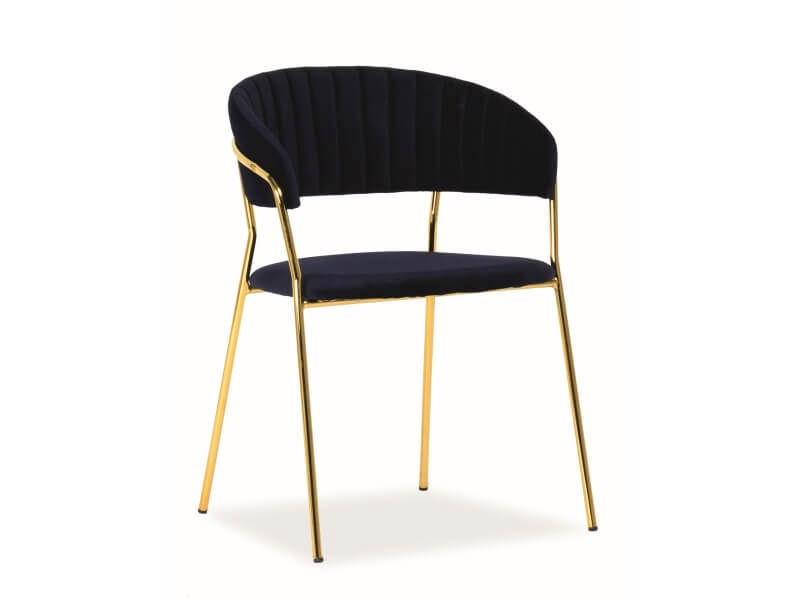 Ēdamistabas krēsls Signal Meble Lira Velvet Blue/Gold, 1 gab.
