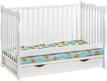 ASM Ala II Plus Baby Cot with Mattress White