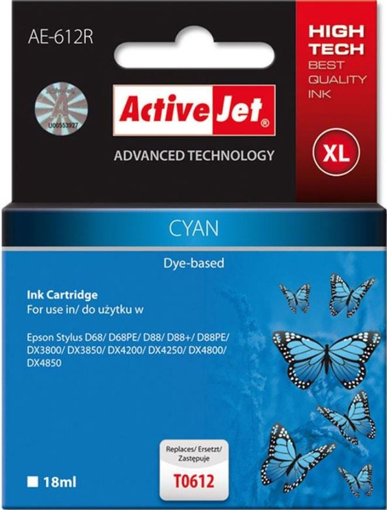 ActiveJet Cartridge AE-612R For Epson 20ml Cyan