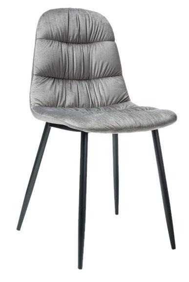 Ēdamistabas krēsls Signal Meble Vedis Stela Velvet Black/Gray, 1 gab.