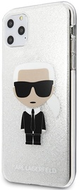 Karl Lagerfeld Glitter Iconic Karl Back Case For Apple iPhone 11 Pro Max Silver