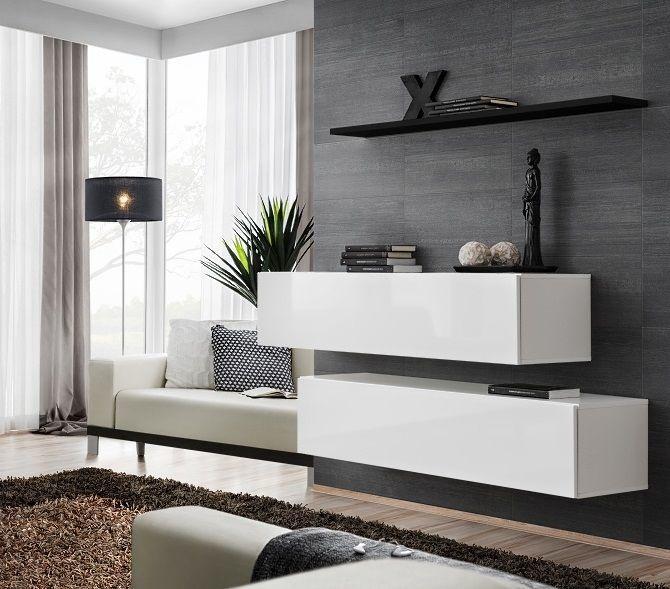 ASM Switch SB II Hanging Cabinet/Shelf Set White/Black Shelf