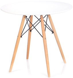 Pusdienu galds Homede Tebe, balta/ozola, 850x850x700mm