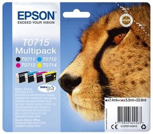 Epson T0715 Inkjet Cartridge 41.8ml Black 7.4ml Cyan Magenta Yellow 3x 3.5ml