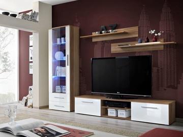 Dzīvojamās istabas mēbeļu komplekts ASM Galino A Plum/White Gloss