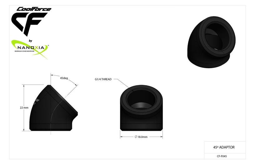Nanoxia CF1 45° Adapter 2x G1/4 Black
