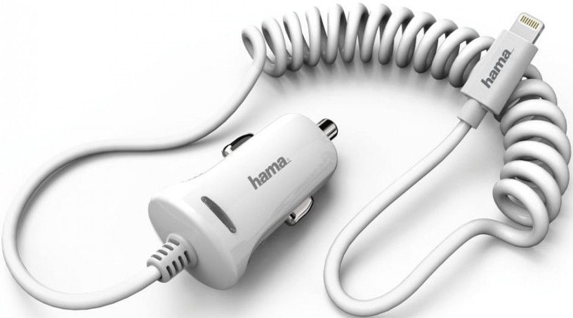 Hama Car Charger With Apple Lightning Cable 2.4A White