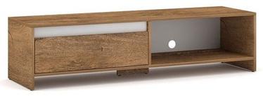 TV galds Vivaldi Meble Line Burgundy Oak/White Gloss, 1400x400x350 mm
