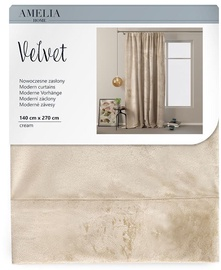 AmeliaHome Velvet Pleat Curtains Cream 140x270cm
