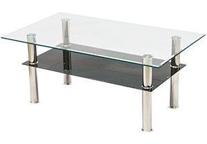Kafijas galdiņš Verners Albina 557516, caurspīdīga/melna, 1000x600x430 mm