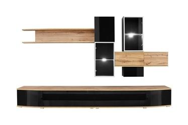 ASM Manhattan Living Room Wall Unit Set Wotan Oak/Black